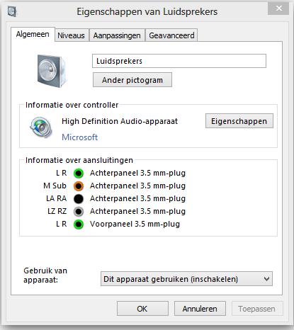 geluid instellen windows 7