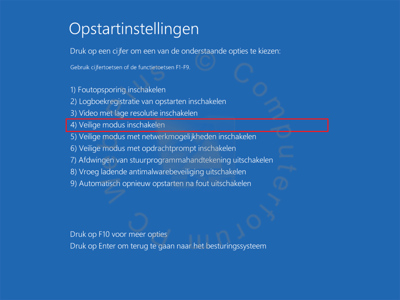 Windows 8 opstarten in de veilige modus