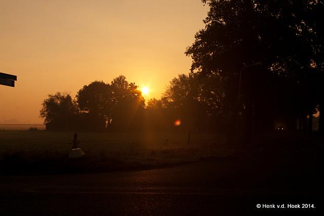 zon en mist in de ochtend.