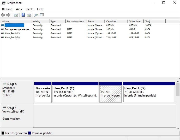 Na installatie van windows 10 heb ik er een nieuwe partitie bij nationaal computer forum - Een verwijderbare partitie maken ...